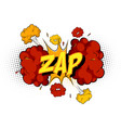 word zap on comic cloud explosion background vector image vector image
