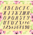 calligraphic font with floral nature vector image