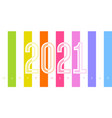 2021 numbers on background rainbow stripes vector image vector image