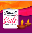 abstract diwali sale discount banner with two diya vector image