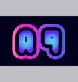 aq a q pink blue gradient alphabet letter logo vector image