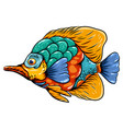 art butterfly fish entangle with long mouth vector image vector image
