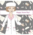 Background with nurse and medical supplies vector image