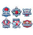 baseball badge design set vector image vector image