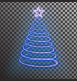 blue neon christmas tree light tree effect with b vector image vector image