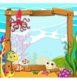 Border design with sea animals vector image vector image