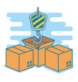 boxes with hook delivery service vector image vector image