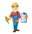 builder in helmet standing and holding order paper vector image vector image