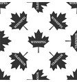 canadian maple leaf with city name winnipeg icon vector image vector image
