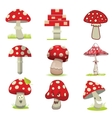 cartoon different types amanita mushrooms vector image