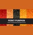 checkerboard pattern set perky pumpkin seamless vector image vector image