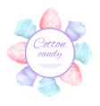cotton candy round button surround by sweet sugar vector image