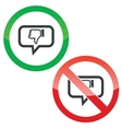 Dislike message permission signs vector image vector image