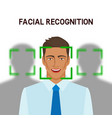 facial recognition concept man in crowd vector image vector image