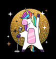 fantasy singing animal horse unicorn vector image vector image