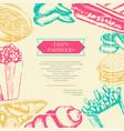 fast food - color hand drawn vintage postcard vector image vector image