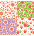 flower pink pattern set vector image