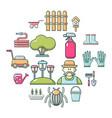 gardener icons set cartoon style vector image vector image