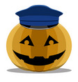 halloween pumpkin with a police hat vector image
