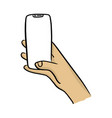 hand holding mobile phone with notch display vector image vector image