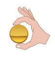 hand with golden coin vector image vector image