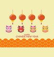 happy chinese new year with dancing lions and vector image