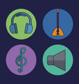 headphone and music related icons vector image vector image