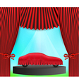 hidden car and red curtain vector image vector image