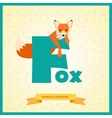letter f and fox vector image