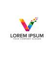 letter v media logo design concept template vector image vector image