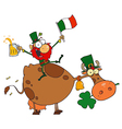 Lucky Leprechaun Sitting On A Cow With Beer vector image vector image