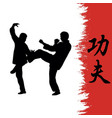 men demonstrate kung fu and a hierog vector image