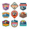 mountain badges set adventure outdoor creative vector image vector image