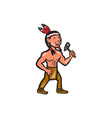 Native American Holding Tomahawk Cartoon vector image vector image