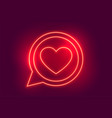 neon love heart chat symbol background design vector image