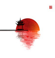 pagoda temple and big red sun reflecting in water vector image