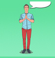 pop art young man praying with smile happy prayer vector image