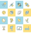 Satellite Flat Line Icons vector image vector image