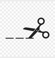 Scissors cutting line icon