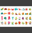 sea creature big set colorful cartoon ocean vector image vector image