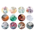 Set of abstract crystal circles in polygon style vector image