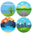 set of four different cartoon landscape vector image vector image