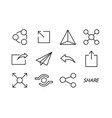 share icons social media collection vector image vector image