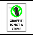 sign graffiti is not a crime permission sign vector image vector image
