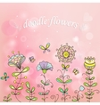 simple flowers on a beautiful pink background vector image vector image