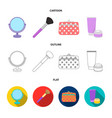 table mirror cosmetic bag face brush body cream vector image
