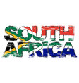 text south africa with national flag under it vector image vector image