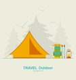 Travel Camping Background with Tourist Tent
