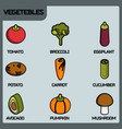 vegetebles color outline isometric icons vector image