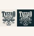 vintage tattoo salon monochrome logo vector image vector image